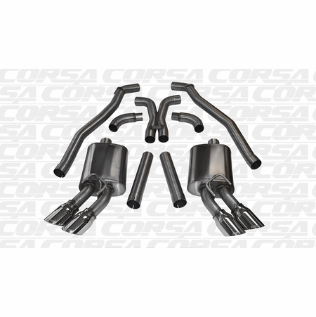 """CORSA 3.0"""" Dual Rear Cat-Back Exhaust + X-Pipe 2012-2013 Chevrolet Camaro ZL1 Coupe 6.2L V8"""