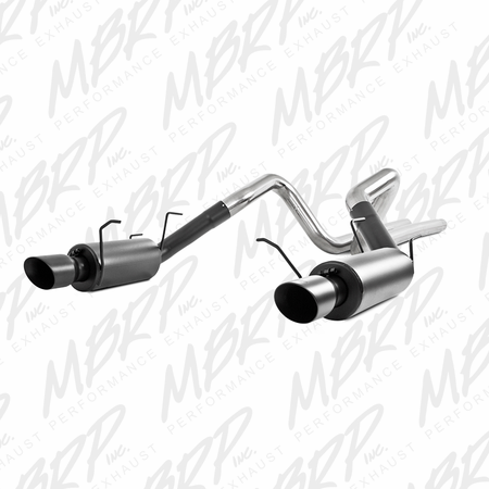 "MBRP 3"" Cat Back, Dual Split Rear, Street Version, 4"" tips, Black 2011-2014 Ford Mustang GT 5.0L"
