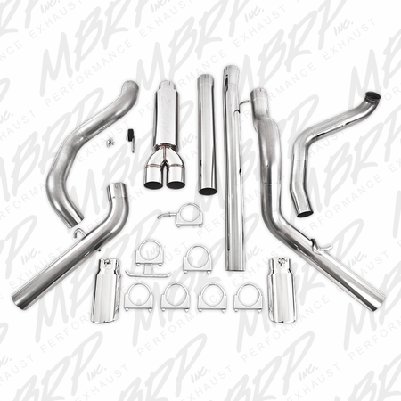 """MBRP 4"""" Turbo Back, Cool Duals, T409 1999-2003 Ford F-250/350 7.3L"""