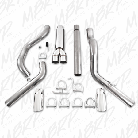 "MBRP Cat Back, 4"" Dual Split Side, T409 1999-2004 Ford F-250/350 V-10"