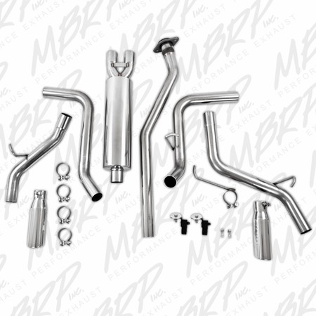 MBRP Cat Back, Dual Split Side, T409 2003-2007 Chevy/GMC 1500 Classic 4.8/5.3L EC/CC-SB