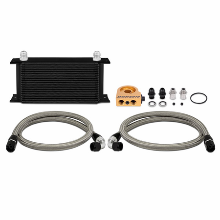Mishimoto Universal Thermostatic Oil Cooler Kit, 19-Row Black