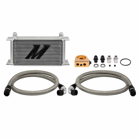 Mishimoto Universal Thermostatic Oil Cooler Kit, 19-Row Silver