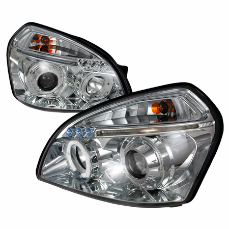 Spec D 04 05 Hyundai Tucson Single Halo LED Projector Headlights W/Amber