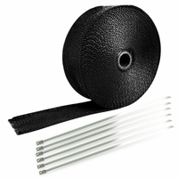 "Spec-D 2"" Black 50Ft Exhaust Header Fiberglass Heat Wrap Tape+6 Ties Kit"