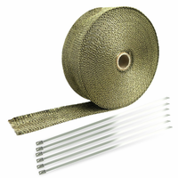 "Spec-D 2"" Titanium 50Ft Exhaust Header Fiberglass Heat Wrap Tape+6 Ties Kit"
