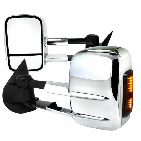 Spec-D 2007-2013 Chevy Silverado / GMC Sierra LED Chrome Extending Towing Mirrors (Power)