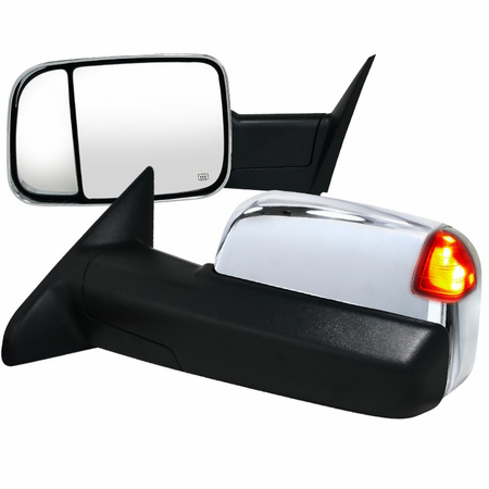 Spec-D 2010-2011 Dodge Ram 2500/3500 Chrome Towing Mirrors w/ Memory Funtion - Power