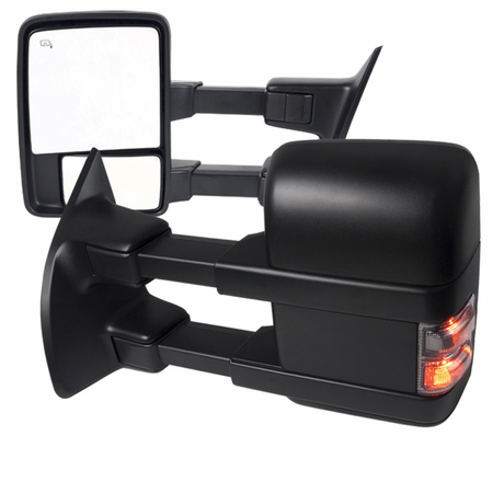 Spec-D 2011-2016 Ford F250 / F350 / F450 / F550 Super Duty Power Towing Extended Mirrors W/ LED Signals - Black