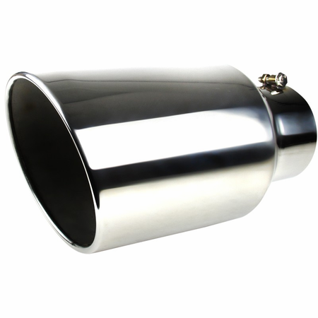 Spec-D Universal 15in Stainless Steel Bolt-on Exhaust - Chrome