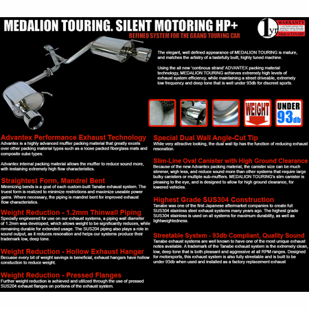 Tanabe Medalion Touring Exhaust System 96-00 Honda Civic Coupe/Sedan EX