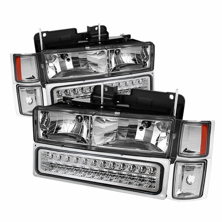 Xtune 94-98 Chevy C/K C/10 1500/2500/3500/92-99 Tahoe/92-99 Suburban/94-98 Silverado/92-94 Blazer Full Size (Won't Fit Seal Beam Headlights) Corner/LED Bumper Headlights - Chrome