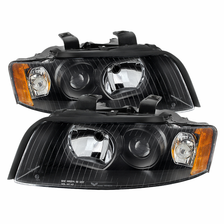 Xtune Audi A4 02-05 (Halogen Only  Does not fit HID models  also does not fit cabriolet convertible model) Crystal Headlights - Black