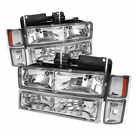 Xtune Chevy C/K Series 1500/2500/3500 94-98 / Chevy Tahoe 95-99 / Chevy Silverado 94-98 / Chevy Suburban 94-98 / Chevy Suburban 94-98 ( Not Compatible With Seal Beam Headlight ) Headlights W/ Corner & Parking Lights 8pcs sets - Chrome