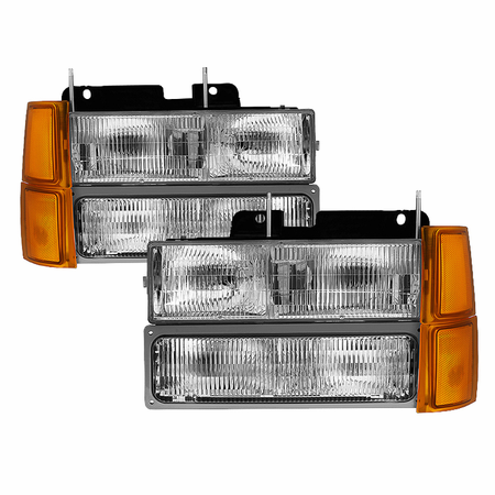Xtune Chevy C/K Series 1500/2500/3500 94-98 / Chevy Tahoe 95-99 / Chevy Silverado 94-98 / Chevy Suburban 94-98 / Chevy Suburban 94-98 ( Not Compatible With Seal Beam Headlight ) Headlights W/ Corner & Parking Lights 8pcs sets -OEM