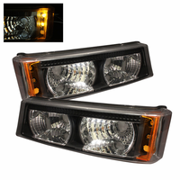 Xtune Chevy Silverado 03-06 Bumper Lights - Black Amber