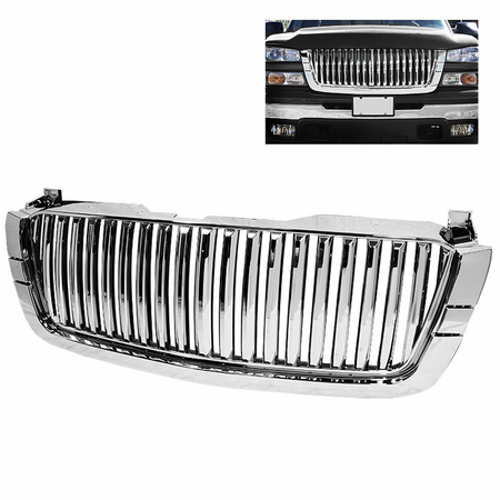 Xtune Chevy Silverado 03-06 Center Only ( Require HD-YD-CS03-1PC Headlight ) Front Grille - Chrome