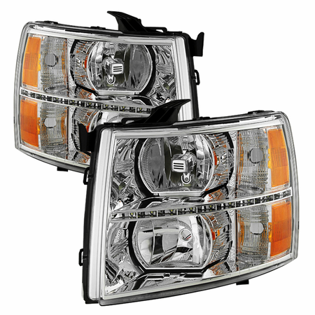 Xtune Chevy Silverado 1500 07-13  2500HD/3500HD 07-14 Crystal Headlights With DRL LED Design - Chrome
