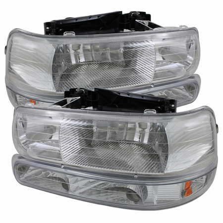 Xtune Chevy Silverado 1500/2500 99-02 / Chevy Silverado 3500 01-02 / Chevy Suburban 1500/2500 00-06 / Chevy Tahoe 00-06 Amber Crystal Headlights With Bumper Lights - Chrome