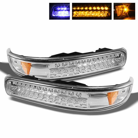 Xtune Chevy Silverado 99-02 / Chevy Suburban/Tahoe 00-06 LED Amber Bumper Lights - Chrome