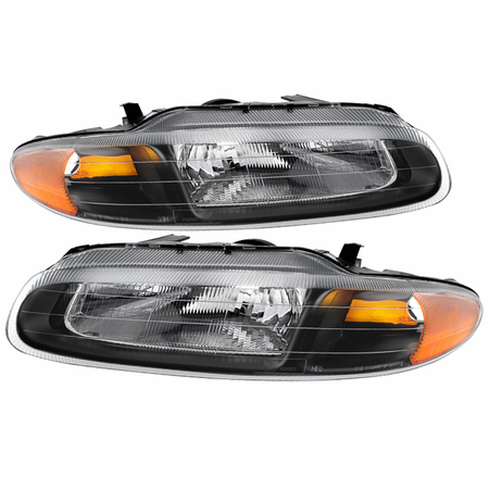Xtune Chrysler Sebring Convertible 96-00 Crystal Headlights - Black