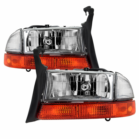 Xtune Dodge Dakota 1997-2004 / Durango 1998-2004 OEM Style Headlights With Bumper Signal Lights - Chrome