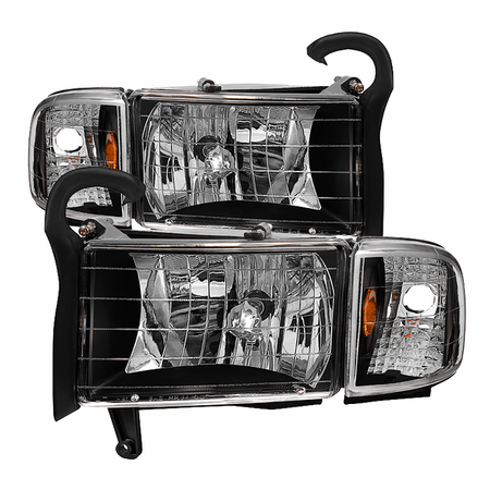 Xtune Dodge Ram 1500 94-01 ( 99-01 Don't Fit Sport Package Models ) / Ram 2500 3500 94-02 OEM Style Headlights with Corner Lamps - Black
