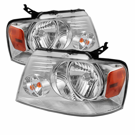 Xtune Ford F150 04-08 Amber Crystal Headlights - Chrome