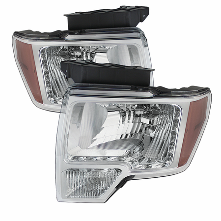 Xtune Ford F150 09-14 Amber Crystal LED Headlights - Chrome