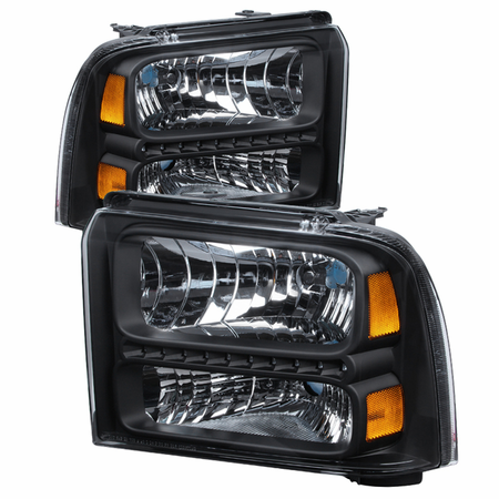 Xtune Ford F250/350/450 Super Duty 05-07 Crystal Headlights with LED - Black