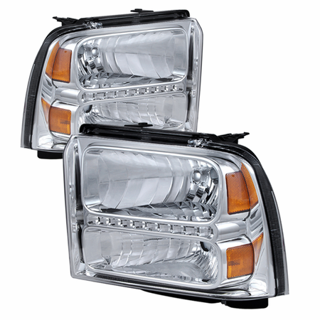 Xtune Ford F250/350/450 Super Duty 05-07 Crystal Headlights with LED - Chrome