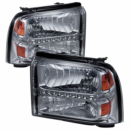 Xtune Ford F250/350/450 Super Duty 05-07 Crystal Headlights with LED - Smoke