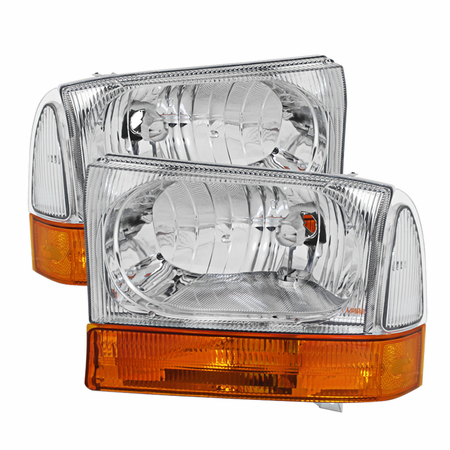 Xtune Ford F250 F350 F450 Superduty Excursion 99-04 Crystal Headlights With All Amber Bumper Lights - Chrome