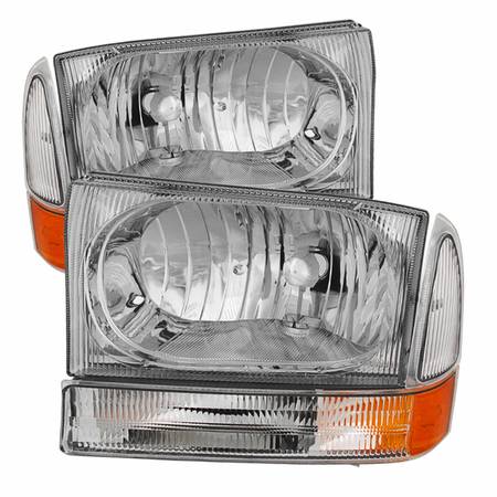 Xtune Ford F250 F350 F450 Superduty Excursion 99-04 Crystal Headlights With Bumper Lights - Chrome