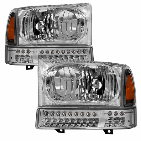 Xtune Ford F250 F350 F450 Superduty Excursion 99-04 OEM Style Headlights With Full LED Bumper Lights - Chrome
