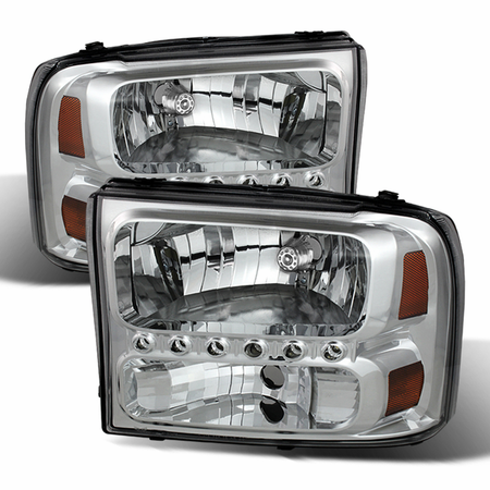 Xtune Ford F250 F350 Super Duty 99-04 / Ford Excursion 00-04 1PC Headlights with LED - Chrome