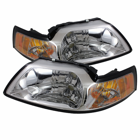 Xtune Ford Mustang 99-04 Amber Crystal Headlights - Chrome