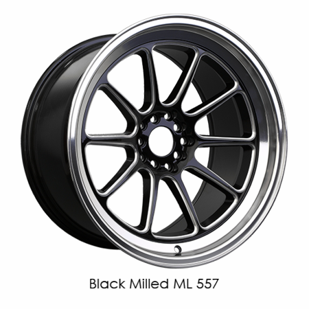 XXR Wheel Rim 557 15x8 4x100/4x114.3 ET20 73.1CB Black / Milled / ML