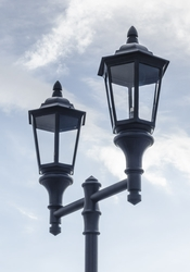 Double Lantern Style Municipal Quality Street Light Fixture and Arm - High Pressure Sodium