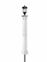 White Yard Lamp - Mayne Post Liberty Series with Light Fixture