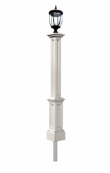 White Yard Lamp - Mayne Post Signature Series with Light Fixture