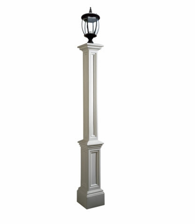 White Yard Lamp Post & Lamp Fixture - Signature Series - optional pipe insert