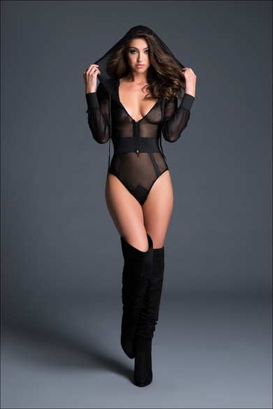 Adore A1021 Sweet And Delicious Fishnet Bodysuit With Hoodie & Cutout Back