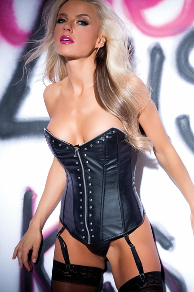 Allure 11-4402 Faux Leather Zip and Rivet Corset