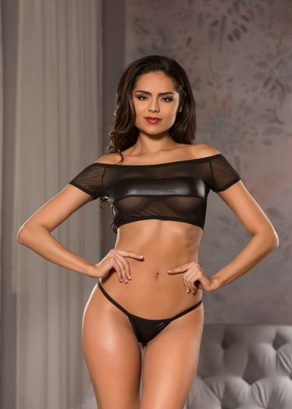Allure 12-3502 Wet-Look Off the Shoulder Top And G-String