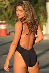 Ujena Black Double Dip One Piece Sexy Bathing Suit