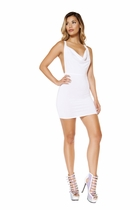 Clubwear Cowl Neck Mini Dress with Low Back Detail