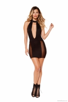 Clubwear Cutout Dress with Sheer Mesh Slit