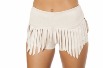 Clubwear Suede Shorts with Fringe Detail