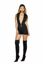 Clubwear V-Neck Romper with Sleeveless Fringed Design